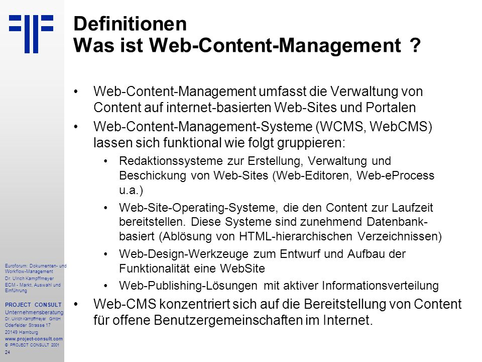 Definitionen Was ist Web-Content-Management