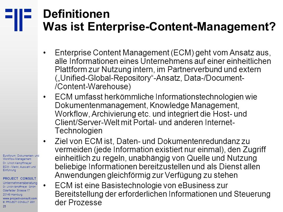 Definitionen Was ist Enterprise-Content-Management