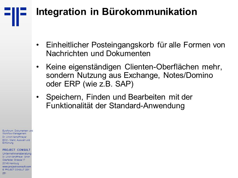 Integration in Bürokommunikation