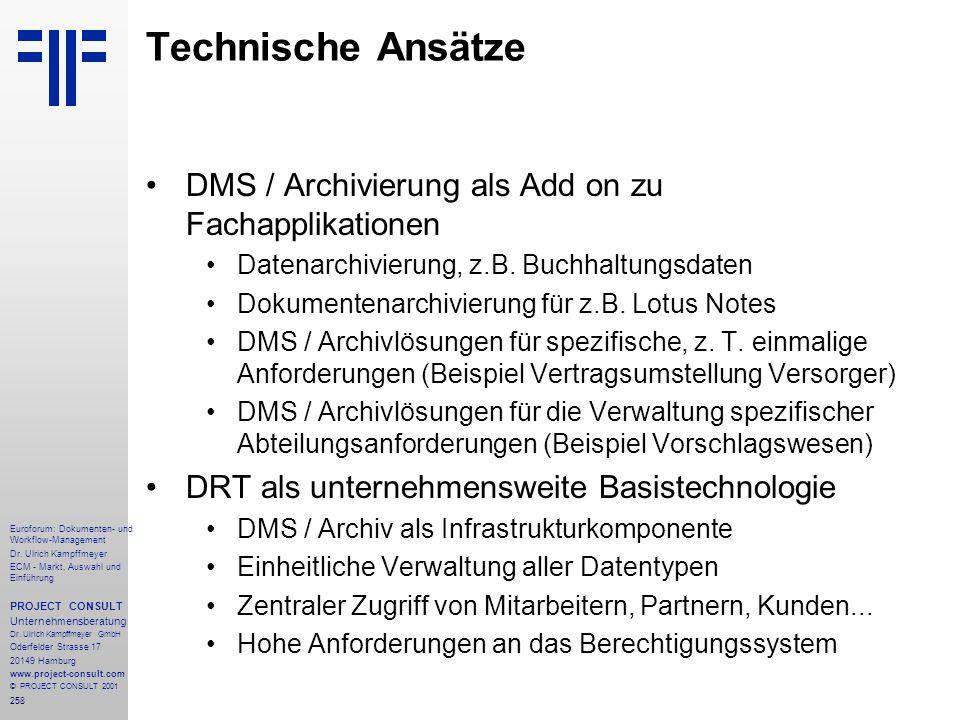Technische Ansätze DMS / Archivierung als Add on zu Fachapplikationen