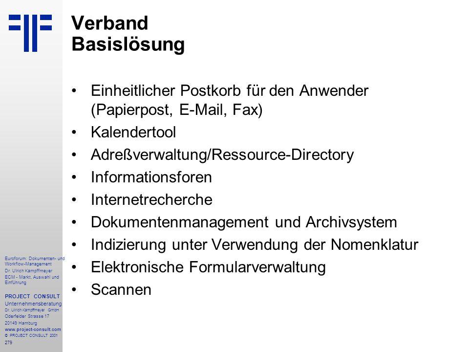 Verband Basislösung Einheitlicher Postkorb für den Anwender (Papierpost, E-Mail, Fax) Kalendertool.
