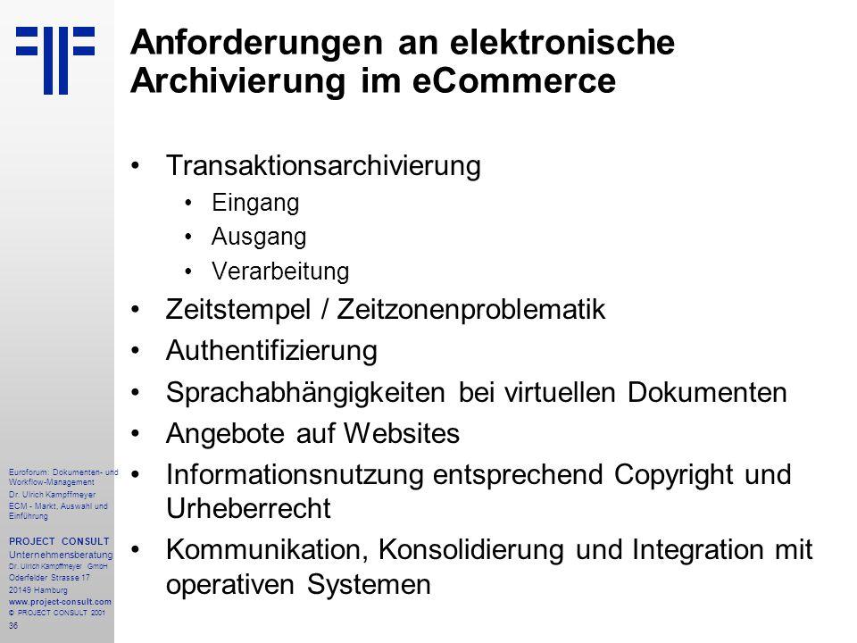 Anforderungen an elektronische Archivierung im eCommerce