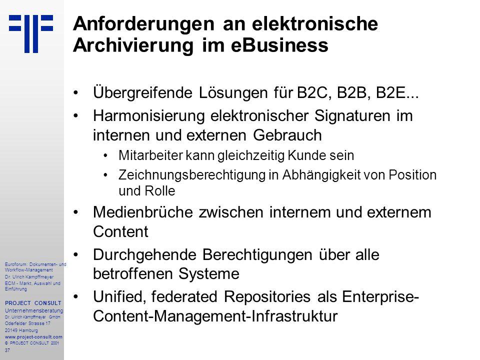 Anforderungen an elektronische Archivierung im eBusiness