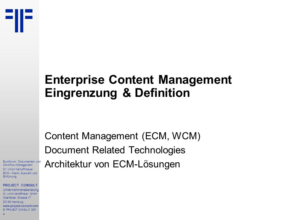 Enterprise Content Management Eingrenzung & Definition