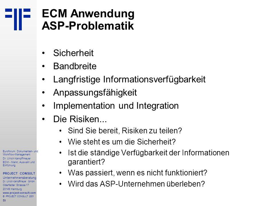 ECM Anwendung ASP-Problematik