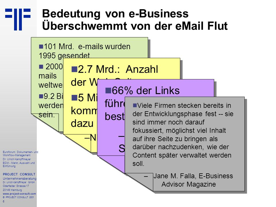Bedeutung von e-Business Überschwemmt von der eMail Flut
