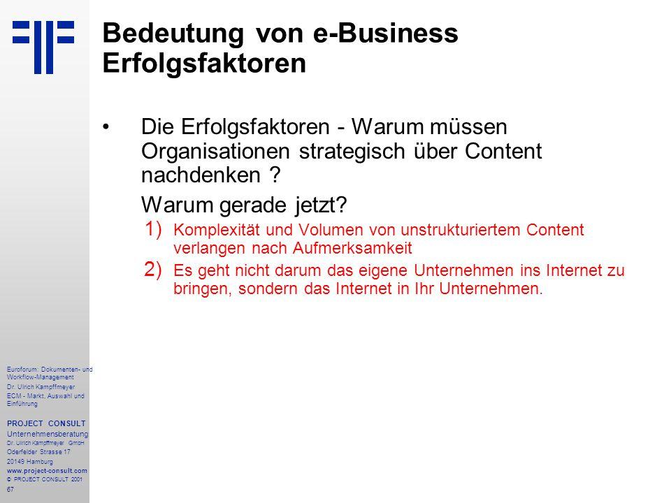 Bedeutung von e-Business Erfolgsfaktoren