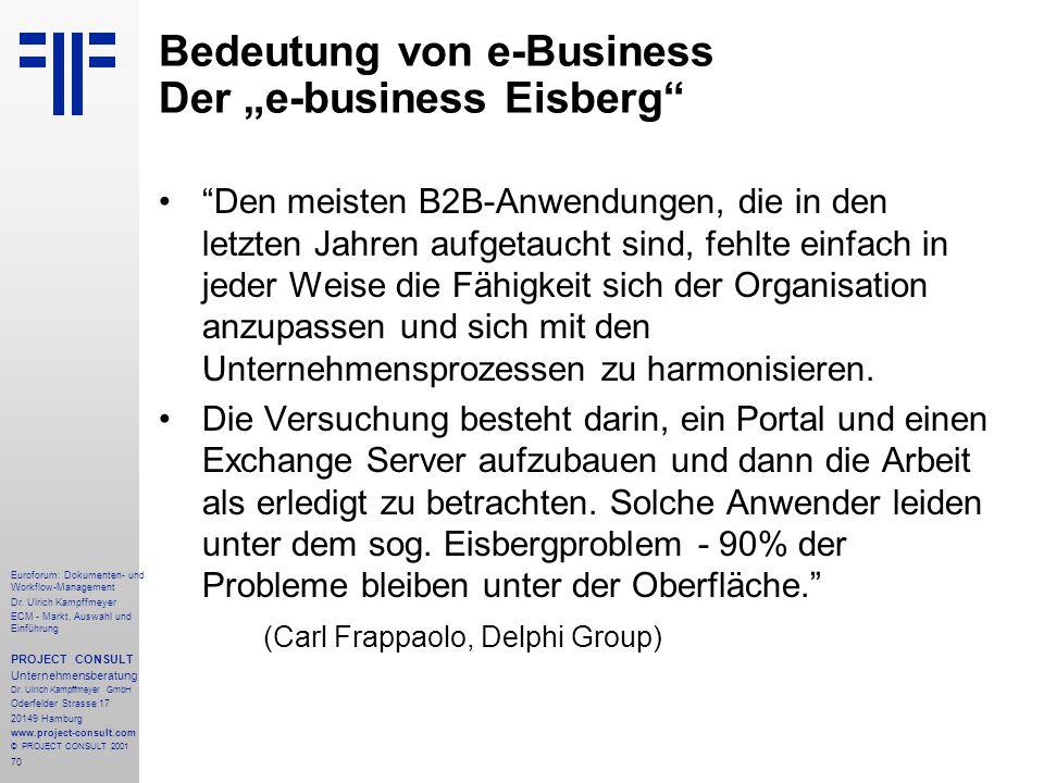 "Bedeutung von e-Business Der ""e-business Eisberg"