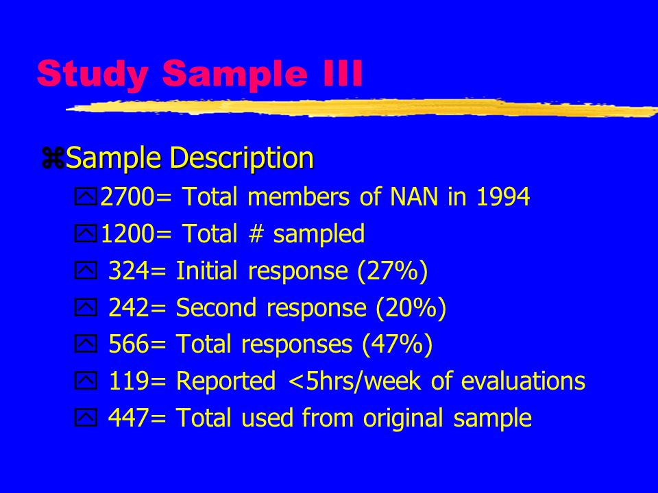 Study Sample III Sample Description 2700= Total members of NAN in 1994