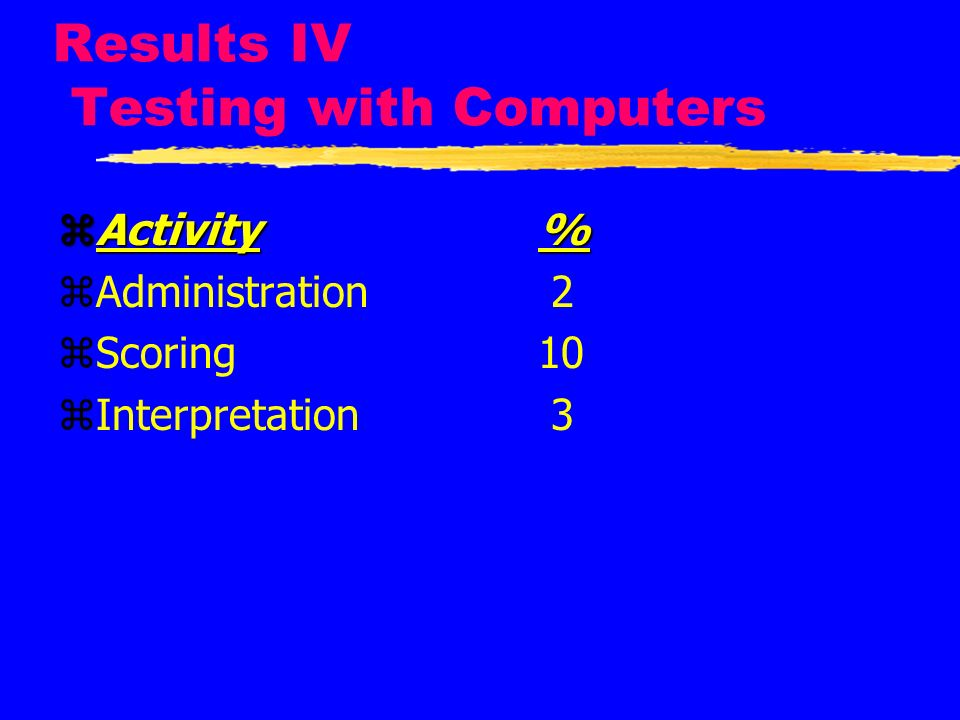 Results IV Testing with Computers