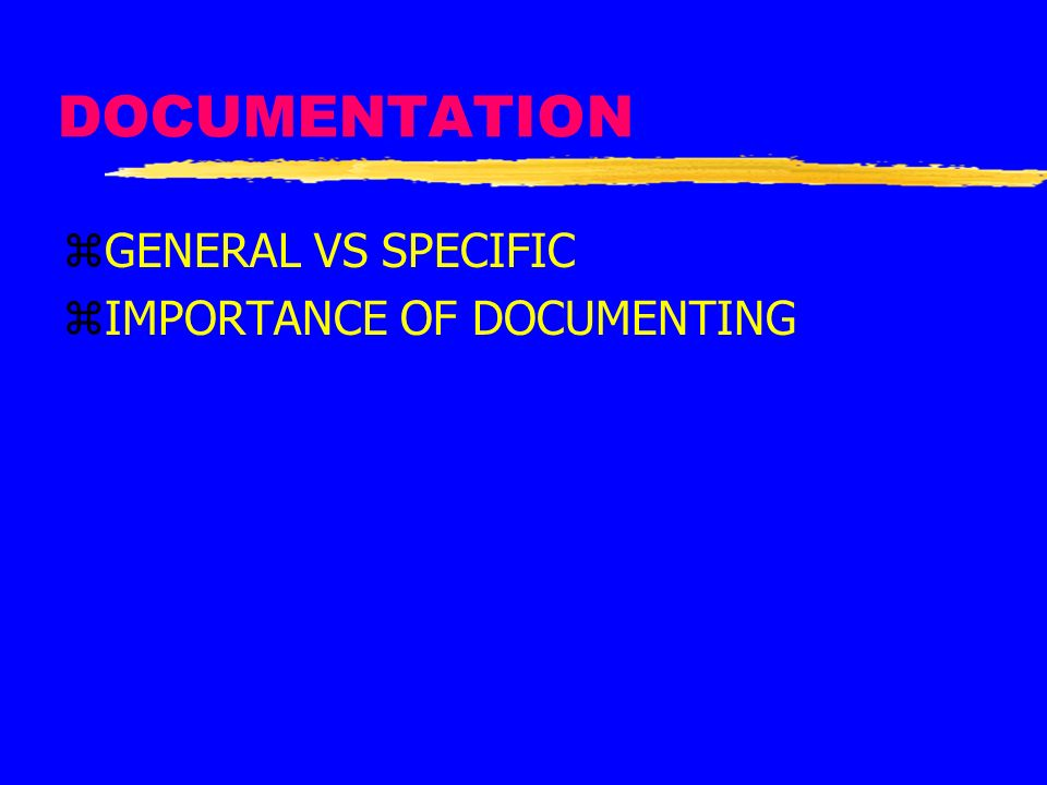 DOCUMENTATION GENERAL VS SPECIFIC IMPORTANCE OF DOCUMENTING