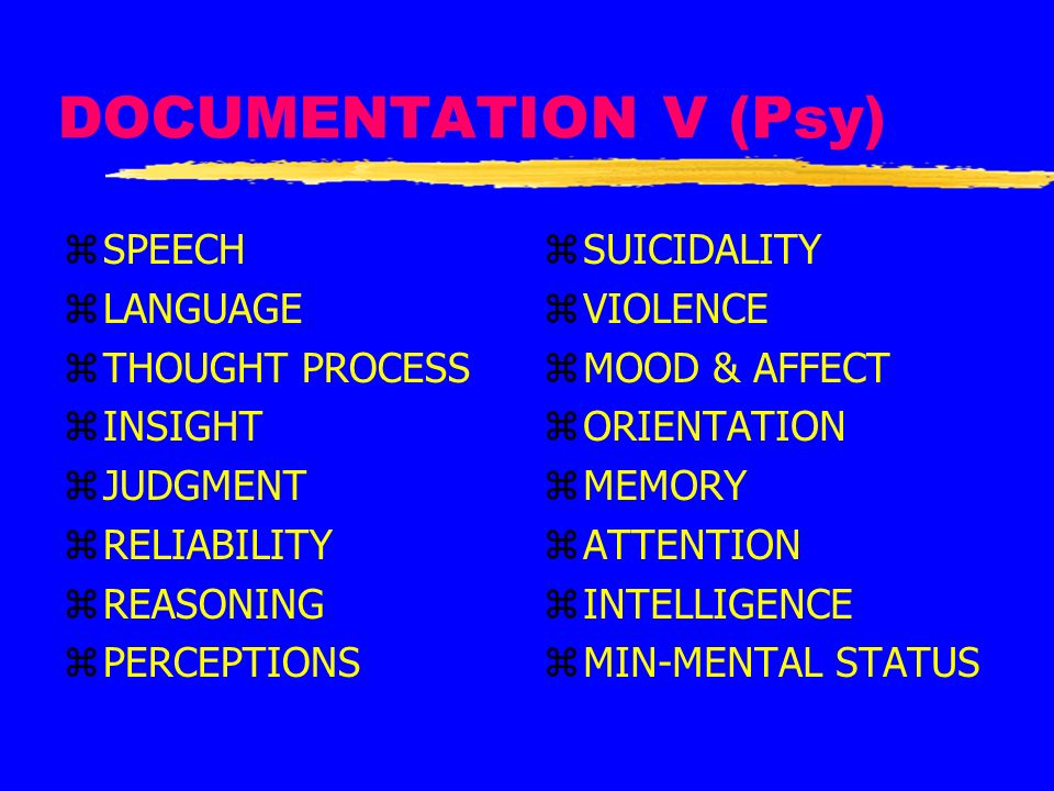 DOCUMENTATION V (Psy) SPEECH LANGUAGE THOUGHT PROCESS INSIGHT JUDGMENT