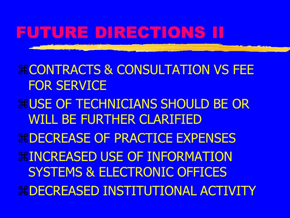 FUTURE DIRECTIONS II CONTRACTS & CONSULTATION VS FEE FOR SERVICE