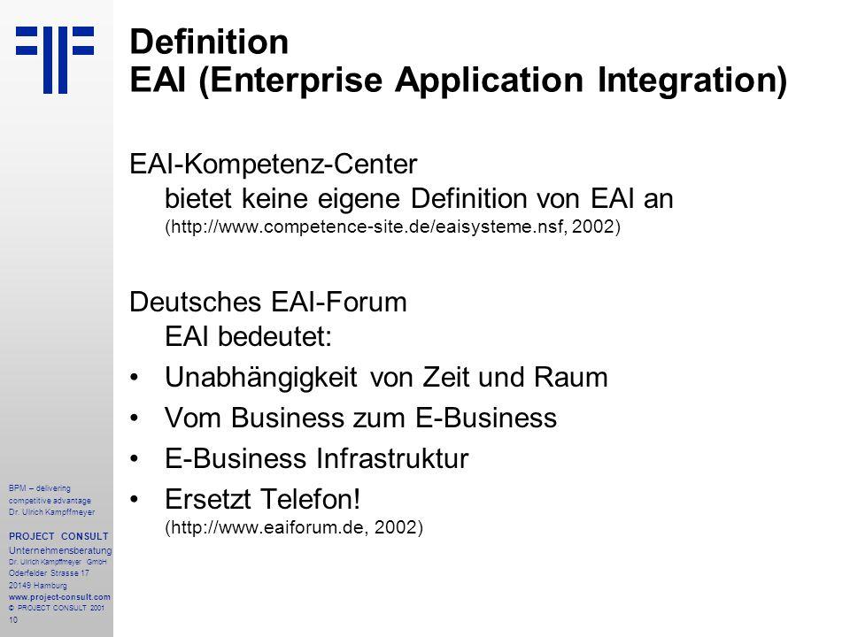 Definition EAI (Enterprise Application Integration)