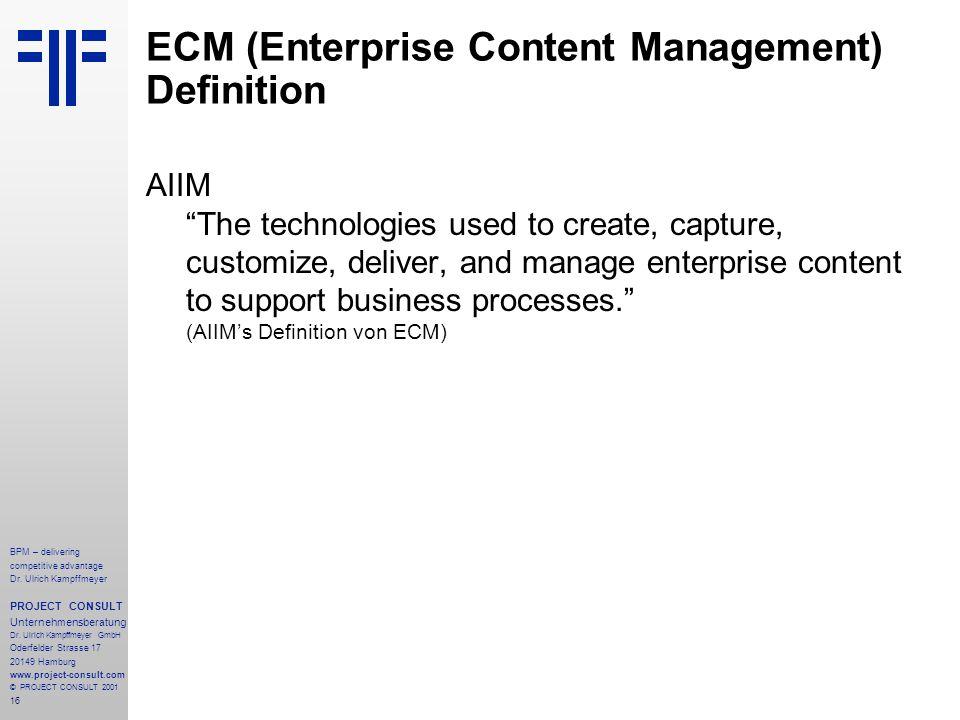 ECM (Enterprise Content Management) Definition