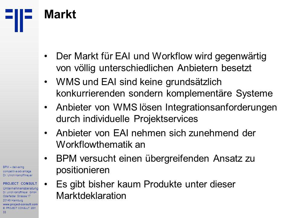 Markt Der Markt für EAI und Workflow wird gegenwärtig von völlig unterschiedlichen Anbietern besetzt.