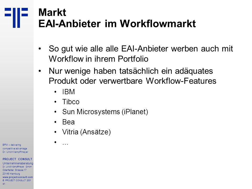 Markt EAI-Anbieter im Workflowmarkt