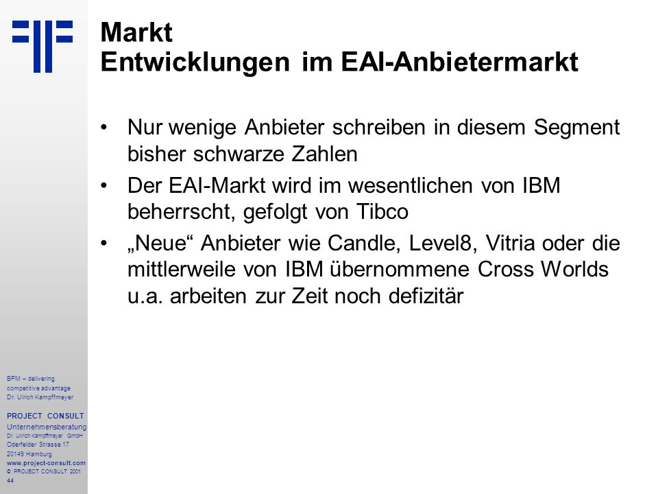 Markt Entwicklungen im EAI-Anbietermarkt