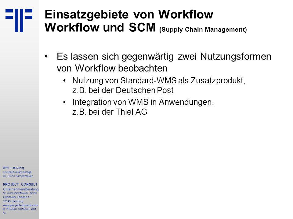Einsatzgebiete von Workflow Workflow und SCM (Supply Chain Management)