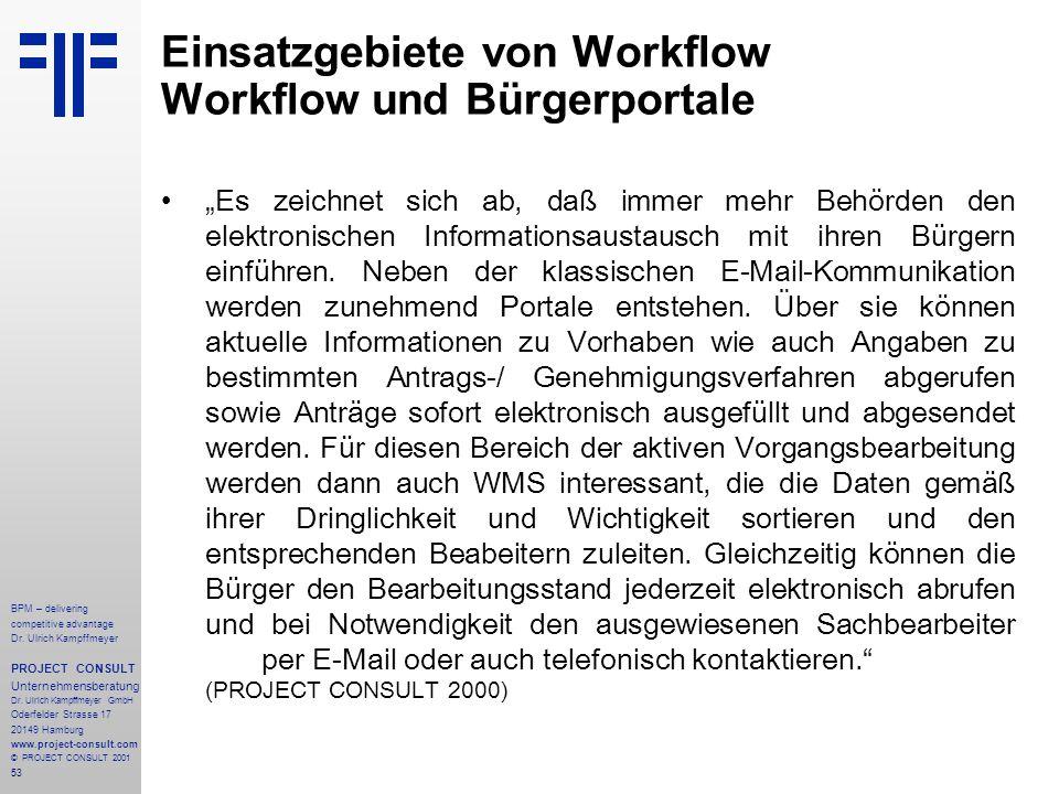 Einsatzgebiete von Workflow Workflow und Bürgerportale