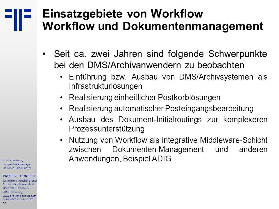 Einsatzgebiete von Workflow Workflow und Dokumentenmanagement