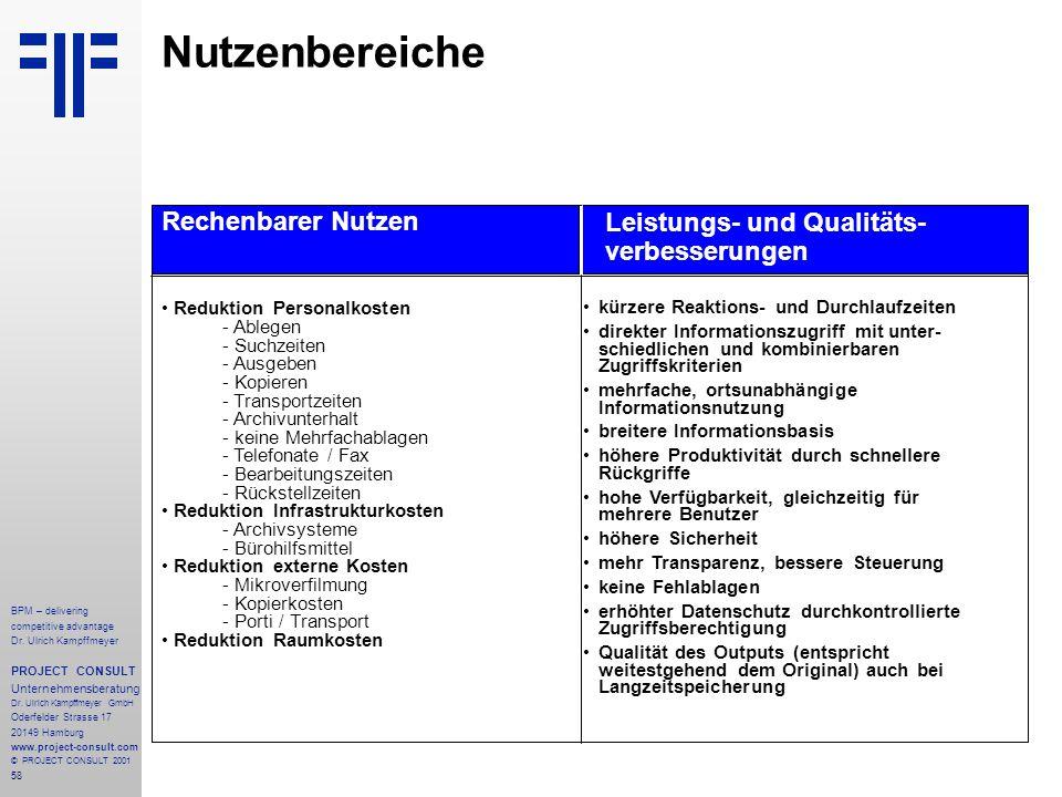 Nutzenbereiche Rechenbarer Nutzen Leistungs- und Qualitäts-
