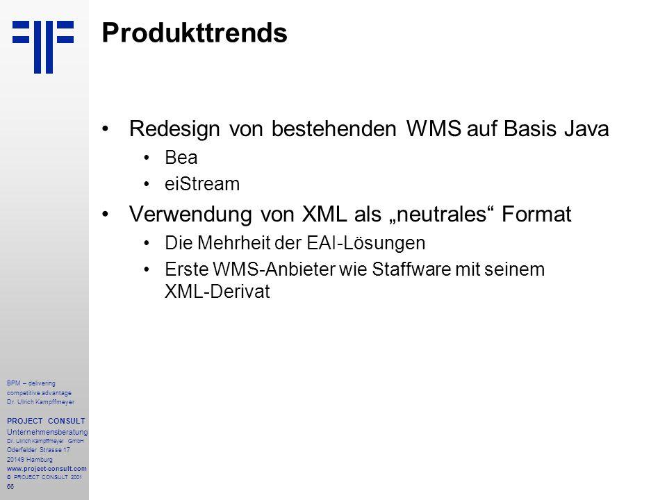 Produkttrends Redesign von bestehenden WMS auf Basis Java