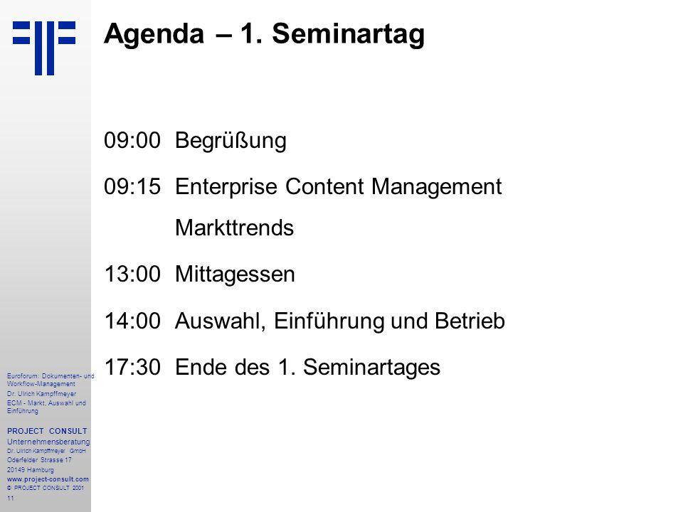 Agenda – 1. Seminartag 09:00 Begrüßung