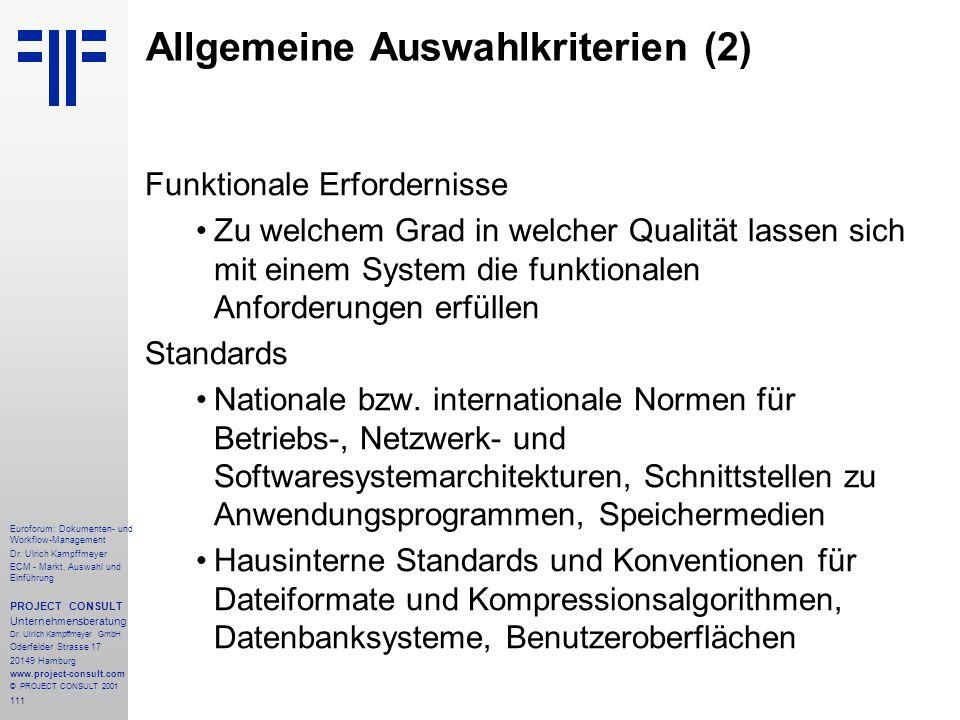 Allgemeine Auswahlkriterien (2)