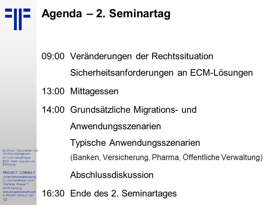 Agenda – 2. Seminartag 09:00 Veränderungen der Rechtssituation Sicherheitsanforderungen an ECM-Lösungen.