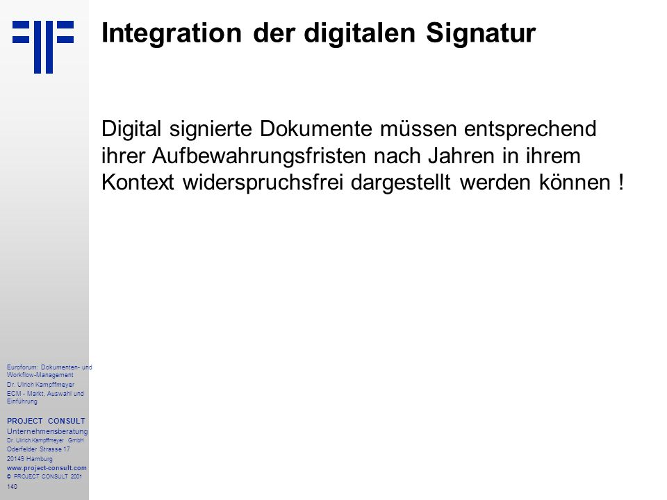 Integration der digitalen Signatur
