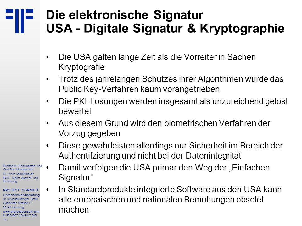 Die elektronische Signatur USA - Digitale Signatur & Kryptographie
