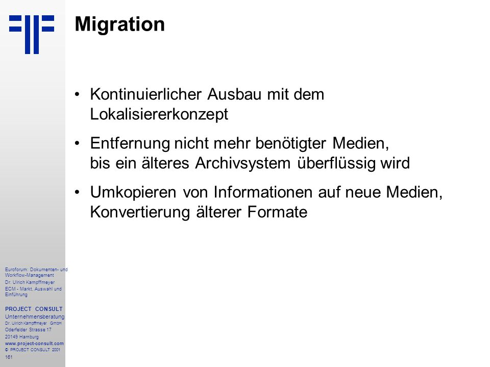 Migration Kontinuierlicher Ausbau mit dem Lokalisiererkonzept