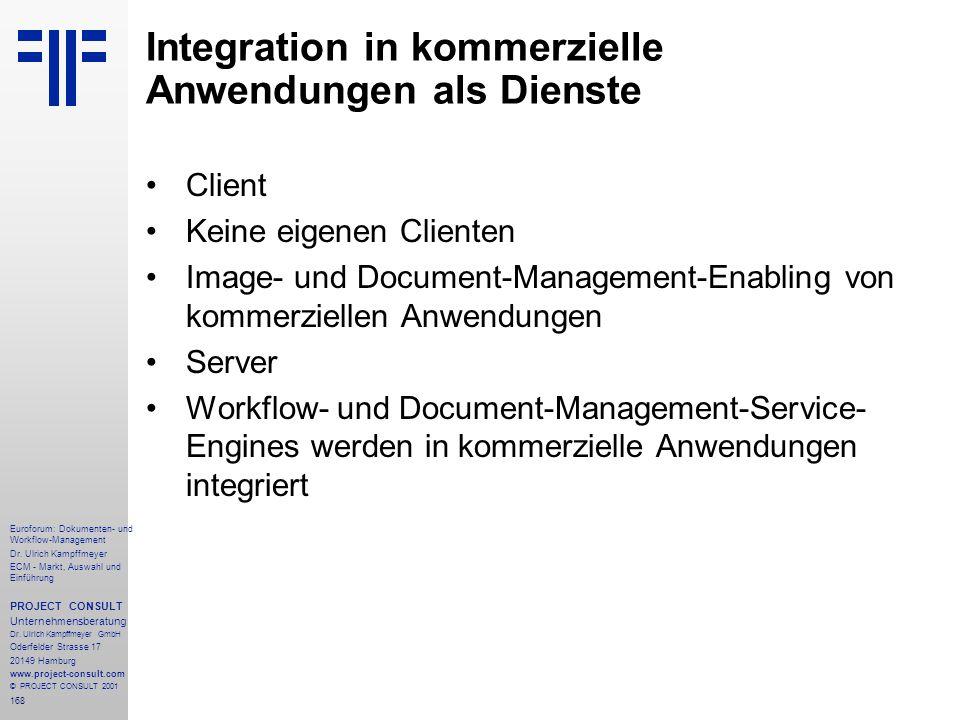 Integration in kommerzielle Anwendungen als Dienste