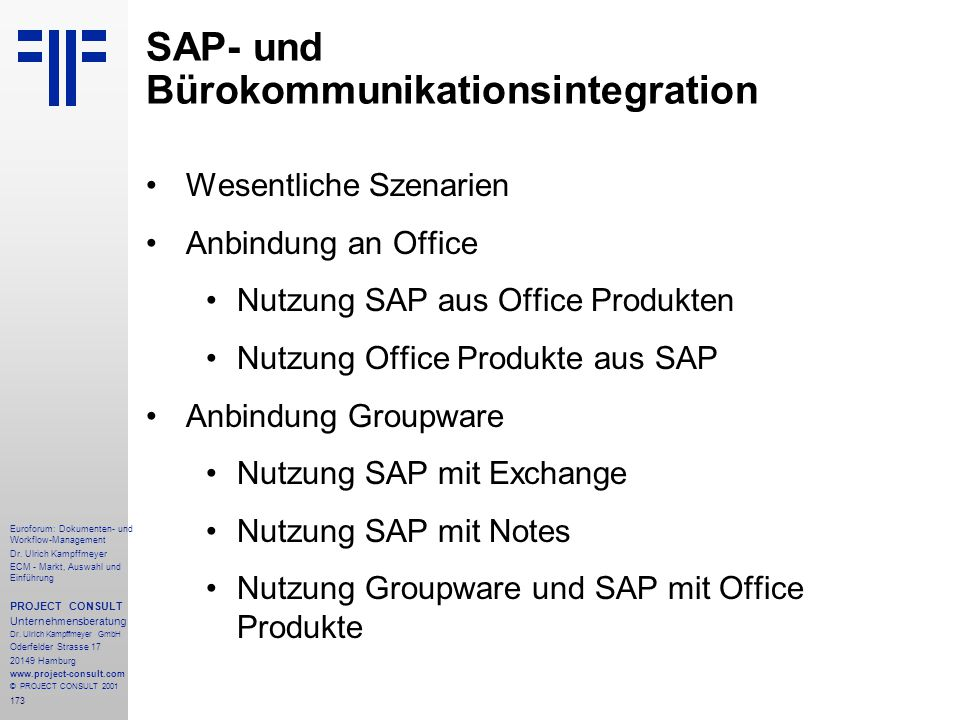 SAP- und Bürokommunikationsintegration