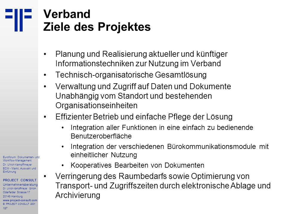 Verband Ziele des Projektes