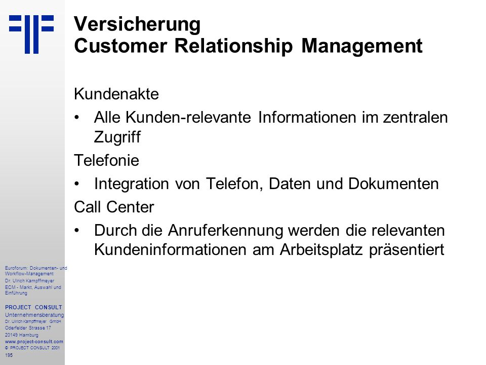 Versicherung Customer Relationship Management