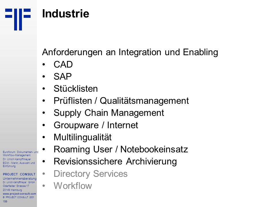 Industrie Anforderungen an Integration und Enabling CAD SAP