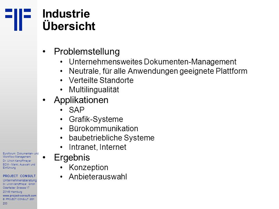Industrie Übersicht Problemstellung Applikationen Ergebnis