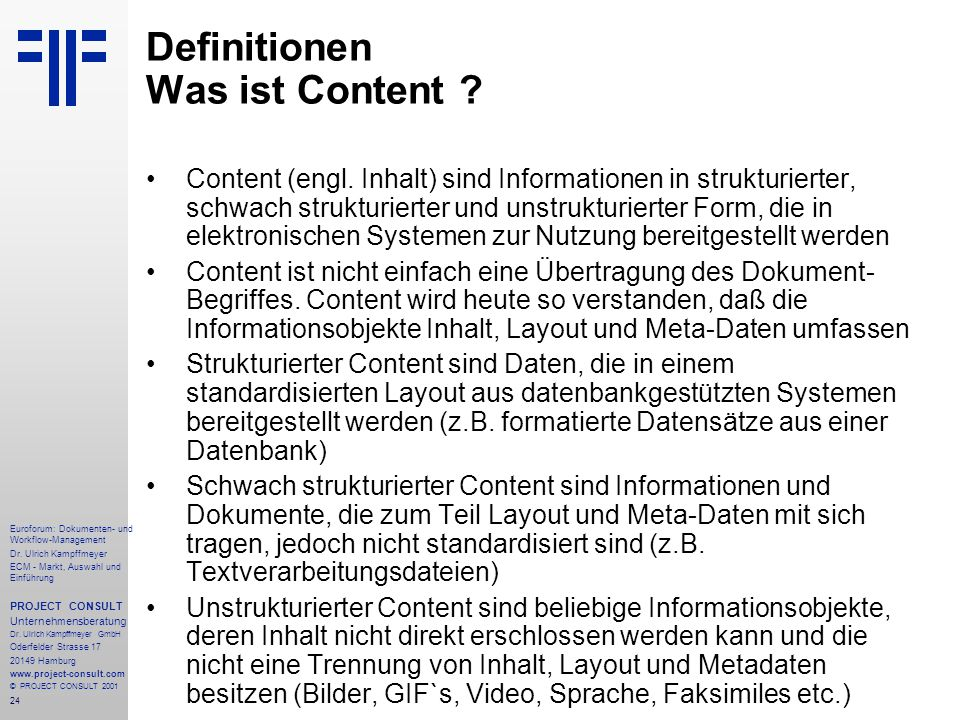 Definitionen Was ist Content