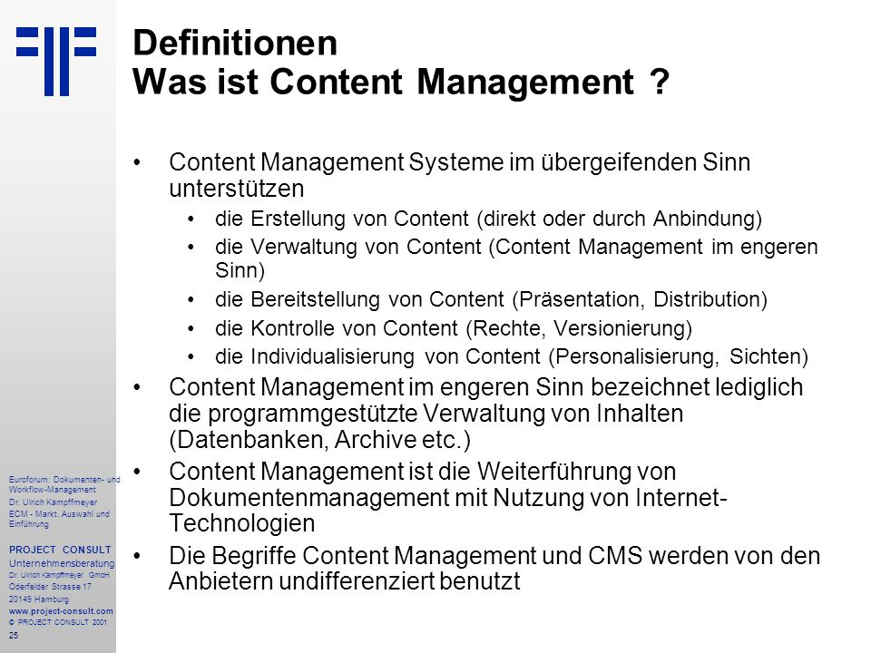 Definitionen Was ist Content Management