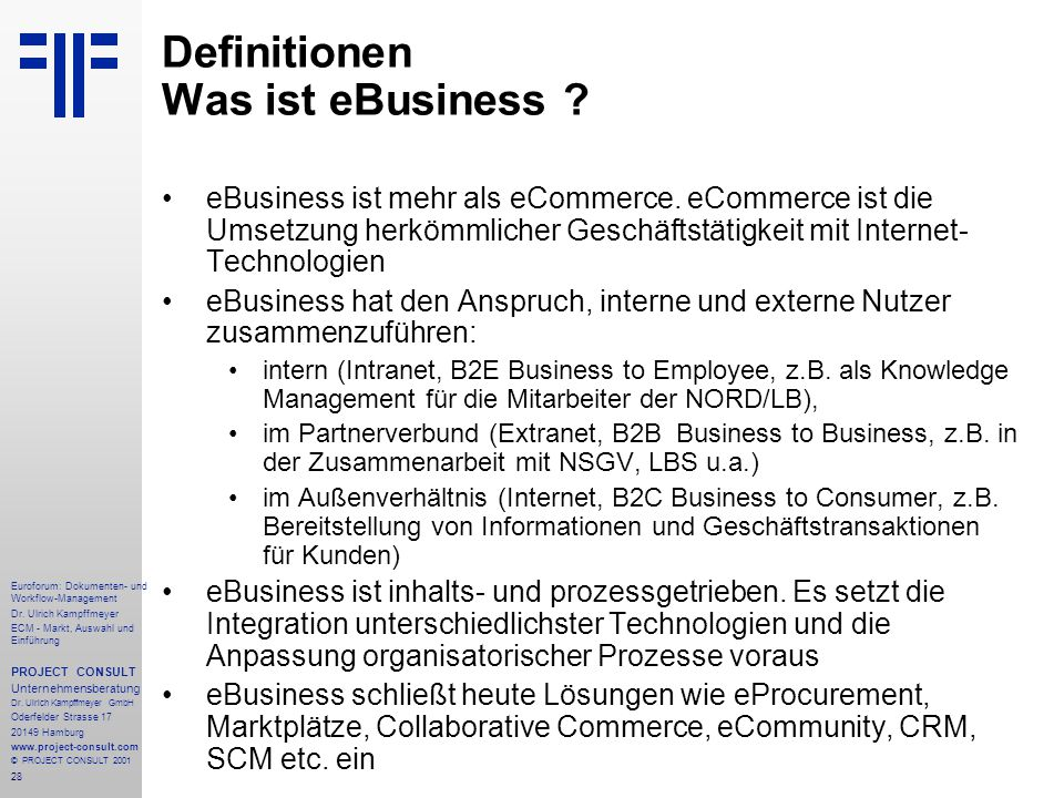 Definitionen Was ist eBusiness