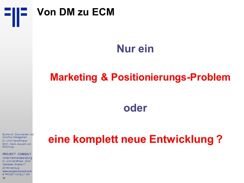 Marketing & Positionierungs-Problem eine komplett neue Entwicklung