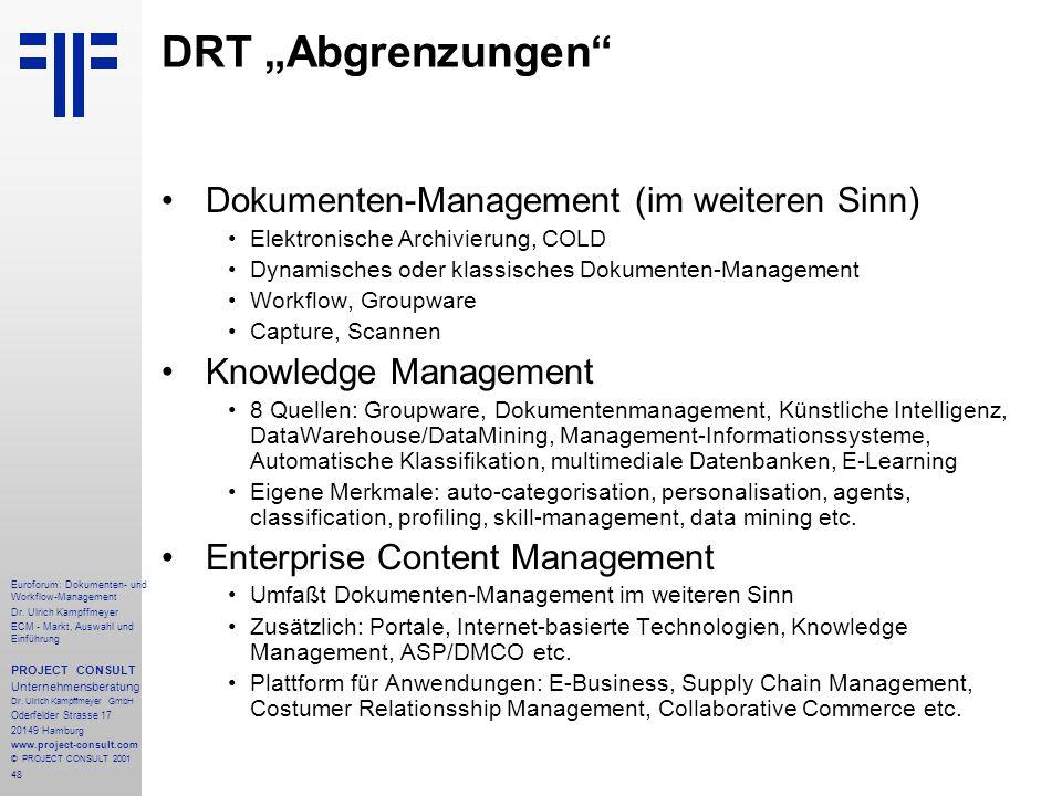 """DRT """"Abgrenzungen Dokumenten-Management (im weiteren Sinn)"""
