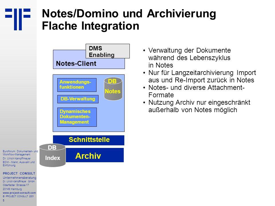 Notes/Domino und Archivierung Flache Integration