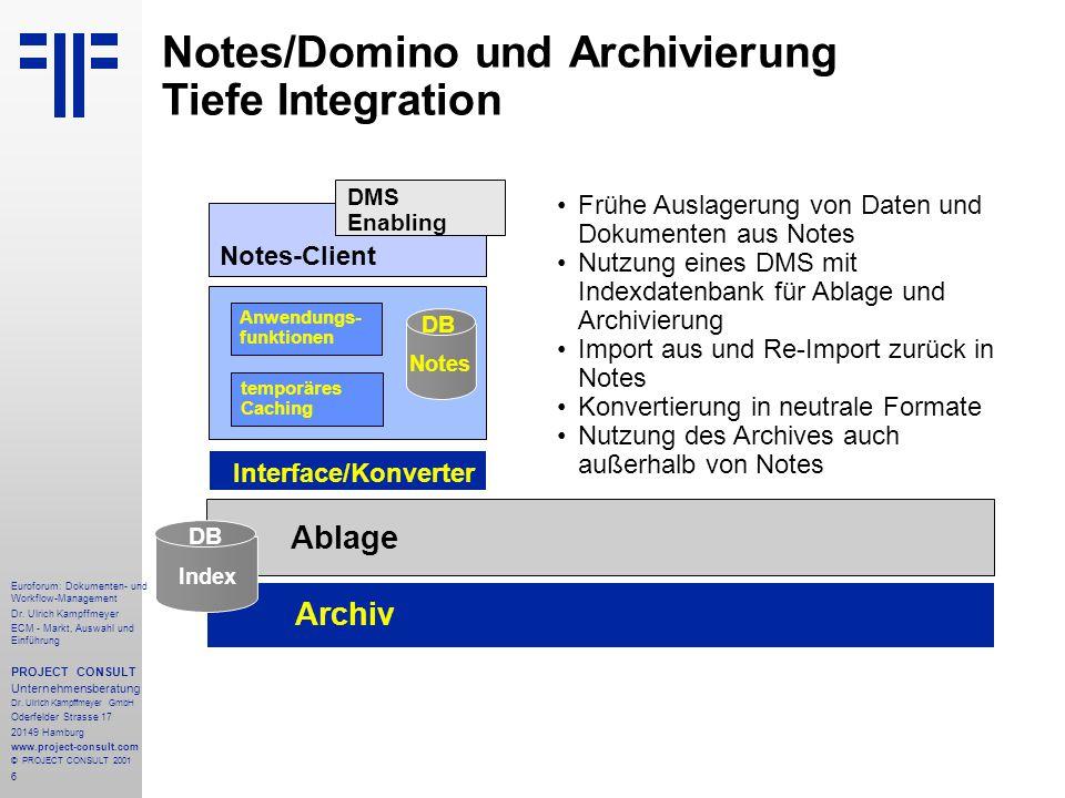 Notes/Domino und Archivierung Tiefe Integration