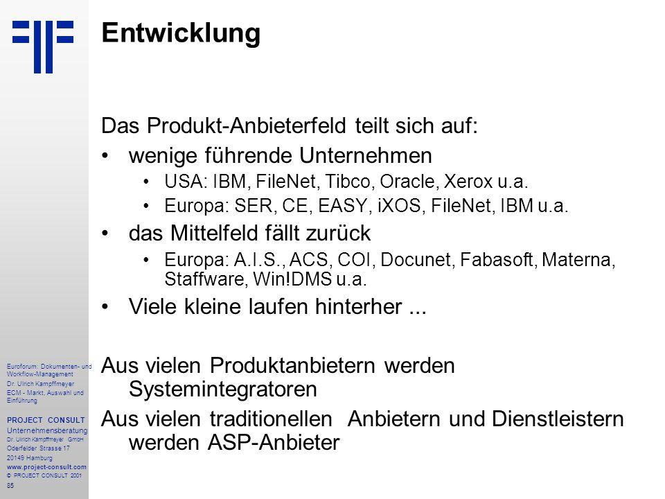 Entwicklung Das Produkt-Anbieterfeld teilt sich auf: