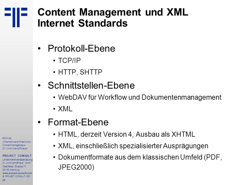 Content Management und XML Internet Standards