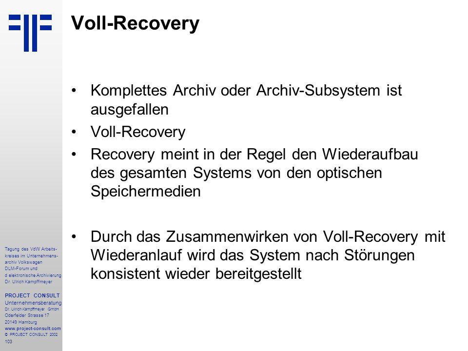 Voll-Recovery Komplettes Archiv oder Archiv-Subsystem ist ausgefallen
