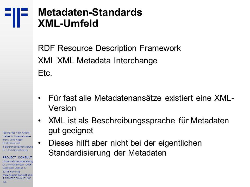 Metadaten-Standards XML-Umfeld